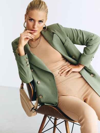 Двубортный пиджак из костюмной ткани зеленого цвета 54658, фото 1