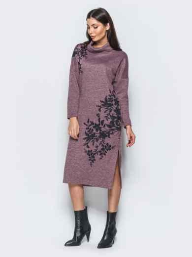 Меланжевое платье розового цвета в стиле oversize  - 17594, фото 3 – интернет-магазин Dressa
