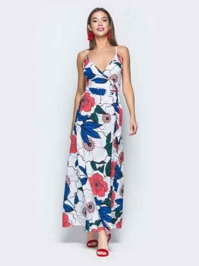 Платье-макси с флористическим принтом и запахом белое 38710, фото 2
