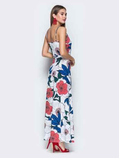 Платье-макси с флористическим принтом и запахом белое 38710, фото 4