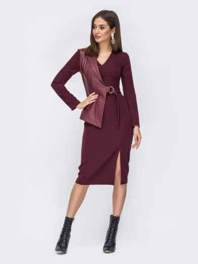 Платье-миди со вставкой из эко-кожи бордовое - 44223, фото 1 – интернет-магазин Dressa