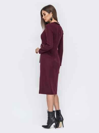Платье-миди со вставкой из эко-кожи бордовое - 44223, фото 2 – интернет-магазин Dressa