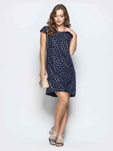 """Платье с принтом """"сердце"""" и удлиненной спинкой тёмно-синее 21980, фото 1"""