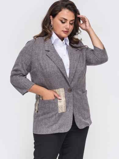 Серый пиджак большого размера с накладными карманами 50864, фото 2