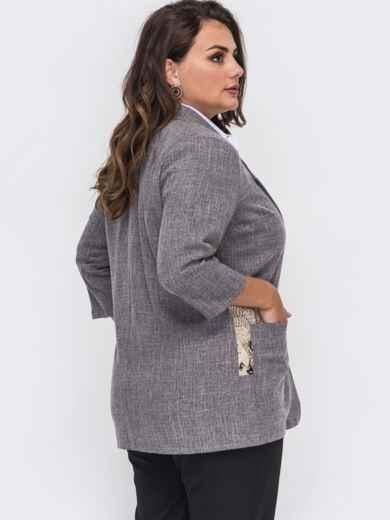 Серый пиджак большого размера с накладными карманами 50864, фото 3