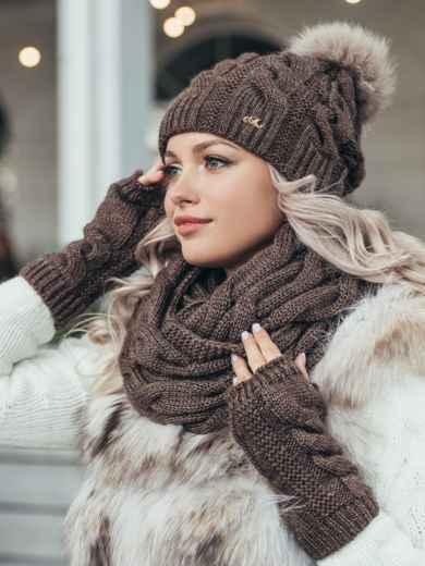 Зимний комплект-тройка с шапкой и хомутом коричневый 51122, фото 1