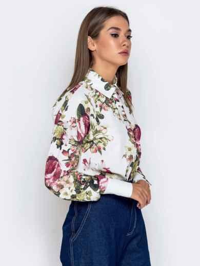 Белая блузка с цветочным принтом - 40974, фото 2 – интернет-магазин Dressa