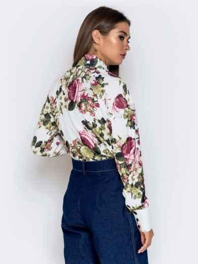 Белая блузка с цветочным принтом - 40974, фото 3 – интернет-магазин Dressa