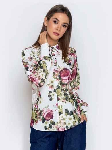 Белая блузка с цветочным принтом - 40974, фото 4 – интернет-магазин Dressa