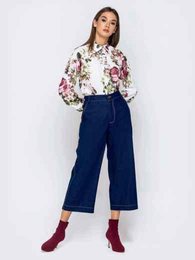 Белая блузка с цветочным принтом - 40974, фото 5 – интернет-магазин Dressa