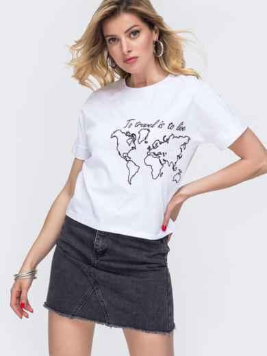 Белая футболка из хлопка с накаткой 48637, фото 1