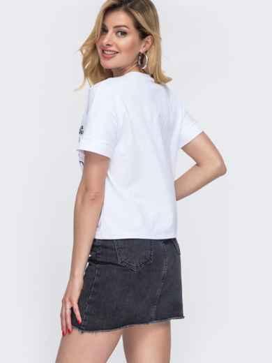 Белая футболка из хлопка с накаткой 48637, фото 2