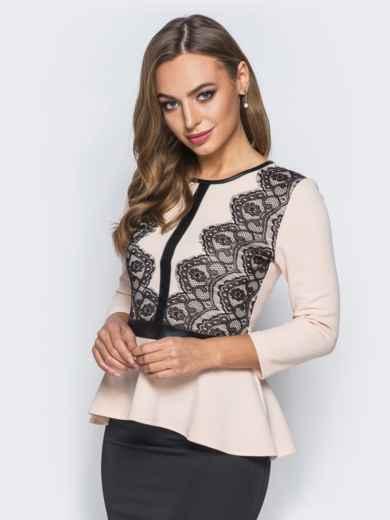 Блузка с баской и кожаной вставкой бежевая - 18070, фото 2 – интернет-магазин Dressa