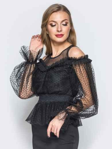 Блузка с фактурным фатином и открытыми плечами черная - 18072, фото 2 – интернет-магазин Dressa