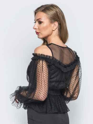 Блузка с фактурным фатином и открытыми плечами черная - 18072, фото 3 – интернет-магазин Dressa