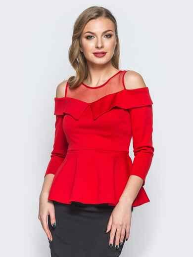 Блузка с открытыми плечами и фатиновой кокеткой красная - 18071, фото 1 – интернет-магазин Dressa