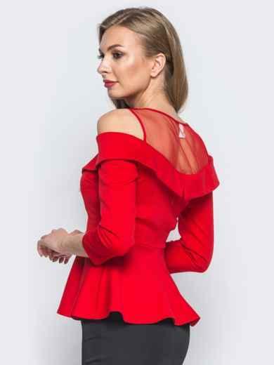 Блузка с открытыми плечами и фатиновой кокеткой красная - 18071, фото 2 – интернет-магазин Dressa