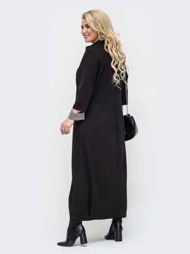 Чёрное платье батал в пол с контрастной вставкой 50868, фото 2