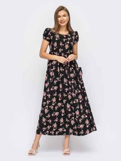 Длинное черное платье с коротким рукавом 53915, фото 1