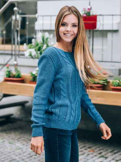Джемпер с манжетами и низом на резинке синий - 13102, фото 2 – интернет-магазин Dressa