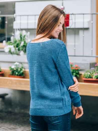 Джемпер с манжетами и низом на резинке синий - 13102, фото 3 – интернет-магазин Dressa
