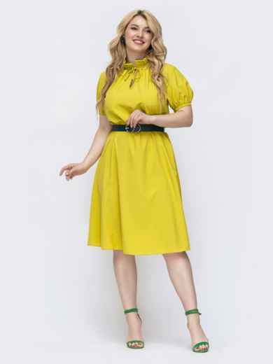 """Платье батал с рукавом """"фонарик"""" желтое 46160, фото 1"""