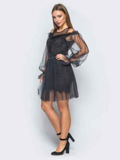 Платье черного цвета с фатином и пышной юбкой - 18262, фото 2 – интернет-магазин Dressa