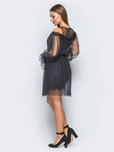 Платье черного цвета с фатином и пышной юбкой - 18262, фото 3 – интернет-магазин Dressa