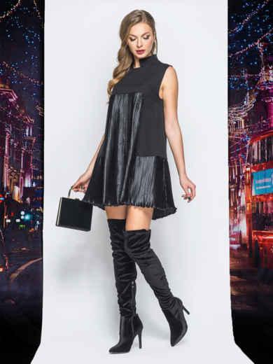 Платье черного цвета с плиссированными вставками - 18219, фото 1 – интернет-магазин Dressa