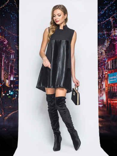 Платье черного цвета с плиссированными вставками - 18219, фото 2 – интернет-магазин Dressa
