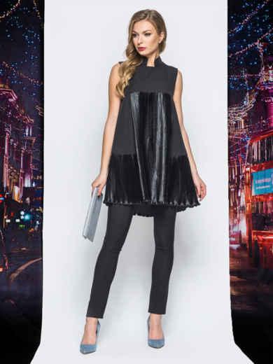 Платье черного цвета с плиссированными вставками - 18219, фото 3 – интернет-магазин Dressa