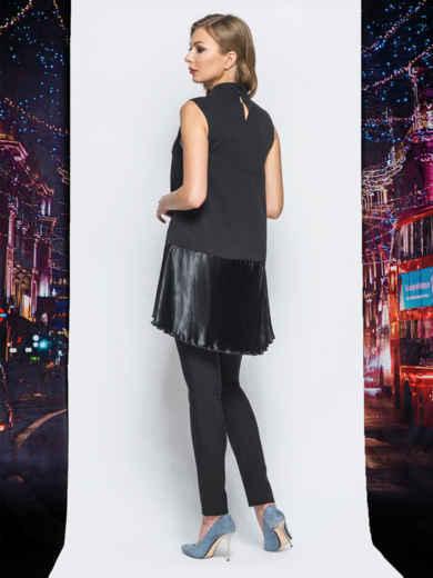 Платье черного цвета с плиссированными вставками - 18219, фото 4 – интернет-магазин Dressa