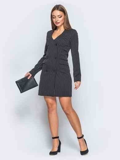 Платье-пиджак с подкладкой и плечиками черное - 18095, фото 1 – интернет-магазин Dressa
