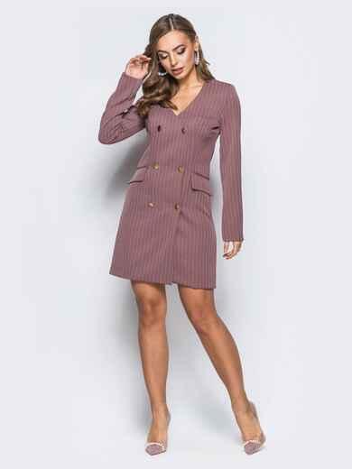 Платье-пиджак с подкладкой и плечиками пудровое - 18093, фото 1 – интернет-магазин Dressa