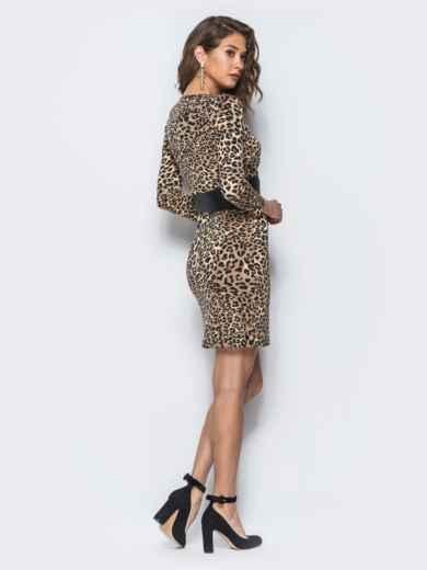 Платье с леопардовым принтом и широким поясом из эко-кожи - 18087, фото 2 – интернет-магазин Dressa