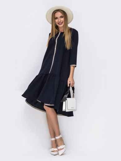 Платье с воланом по низу и удлиненной спинкой тёмно-синее 42192, фото 1