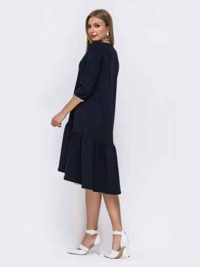 Платье с воланом по низу и удлиненной спинкой тёмно-синее 42192, фото 3