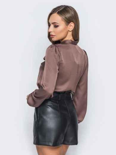 Шелковая блузка коричневого цвета с воротником аскот - 18074, фото 2 – интернет-магазин Dressa