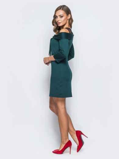 Трикотажное платье с бантом по горловине зелёное - 18086, фото 2 – интернет-магазин Dressa