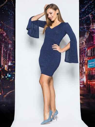 Трикотажное платье синего цвета с расклешенным рукавом 18091, фото 1