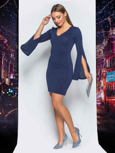 Трикотажное платье синего цвета с расклешенным рукавом 18091, фото 2