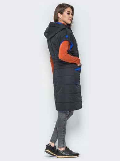 Удлиненный жилет с контрастной окантовкой и капюшоном чёрный - 20251, фото 3 – интернет-магазин Dressa