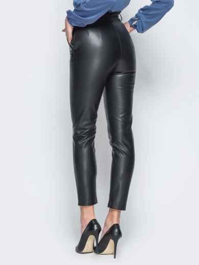 Укороченные брюки из эко-кожи с завышенной талией - 18078, фото 2 – интернет-магазин Dressa