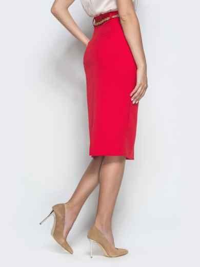 Юбка-карандаш красного цвета со шлицей - 39819, фото 2 – интернет-магазин Dressa