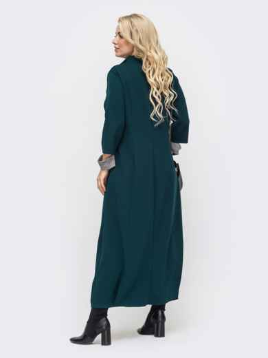 Зеленое платье батал в пол с контрастной вставкой 50870, фото 2