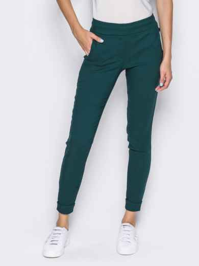 Брюки из стрейч-коттона с карманами в швах зелёные 14408, фото 3