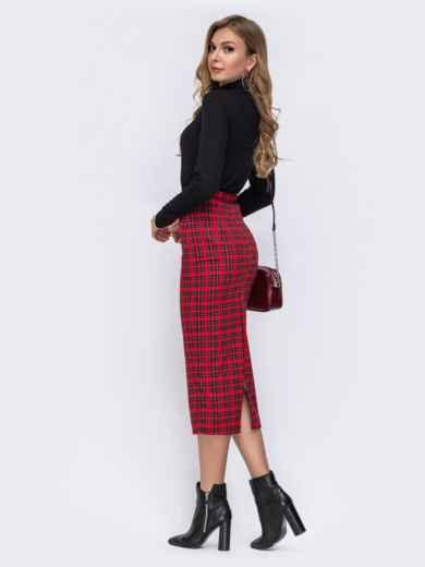 Красный комплект из кофты и юбки-карандаш в клетку - 42493, фото 3 – интернет-магазин Dressa