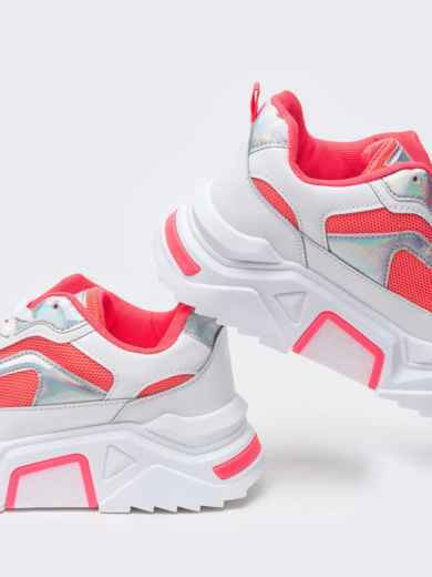 Розовые кроссовки на массивной подошве 51382, фото 4
