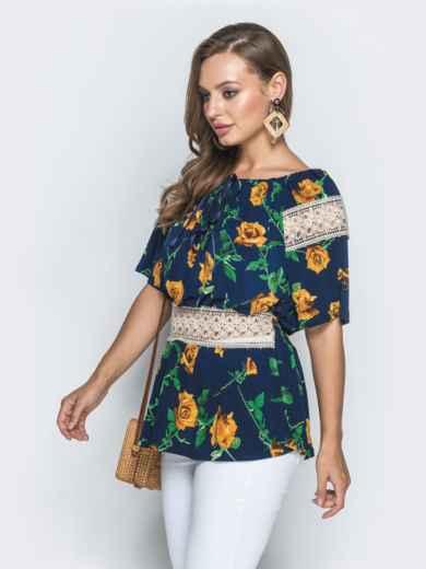 Синяя рубашка с цветочным принтом и гипюровыми вставками - 39202, фото 2 – интернет-магазин Dressa