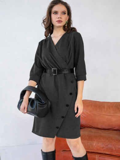 Вельветовое платье батал приталенного кроя черное 51591, фото 1